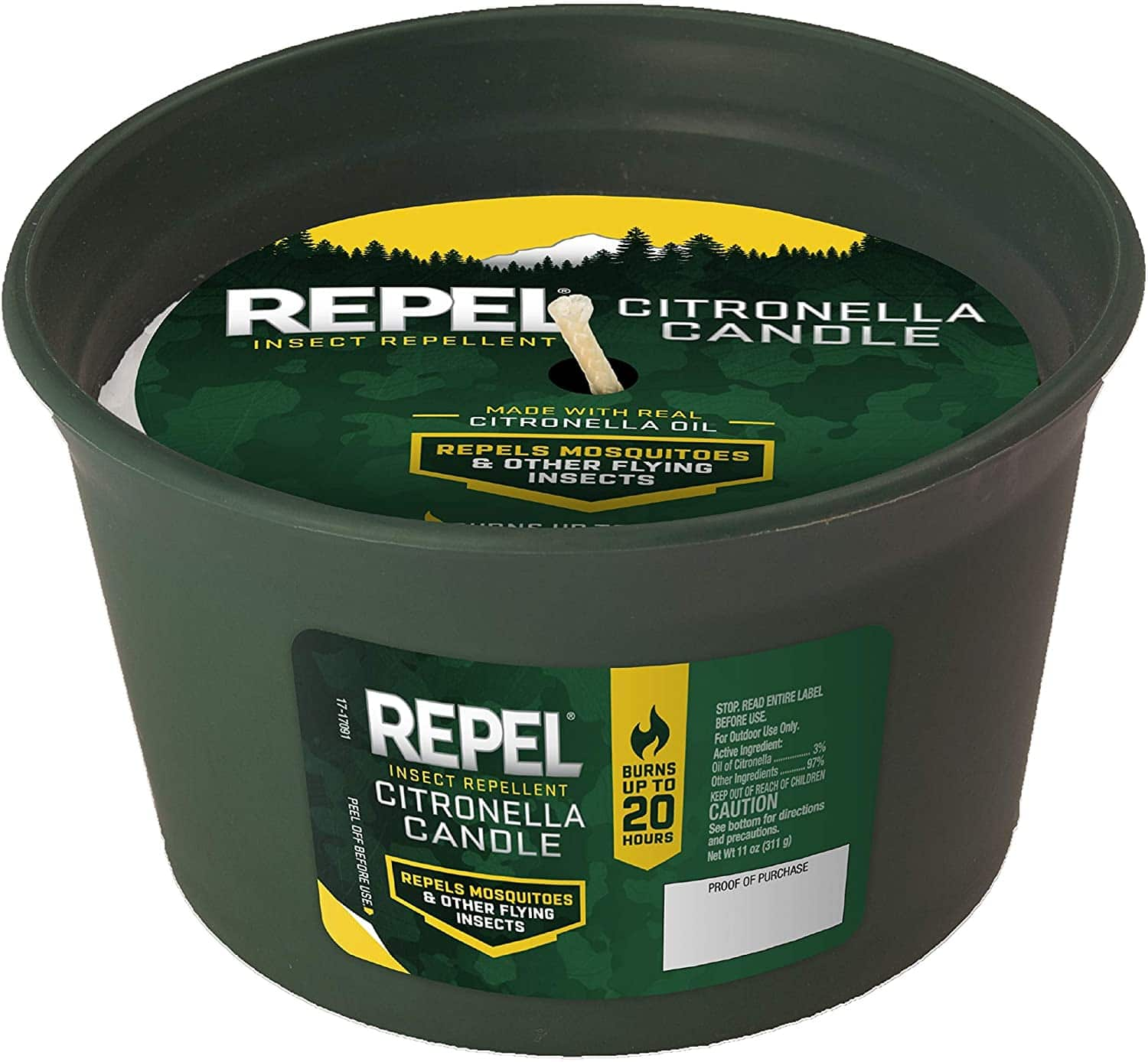 (6-Pack) Repel HG-94224 Insect Citronella Candle, 11-ounce, 20-hour - $7.99 FS w/ Prime