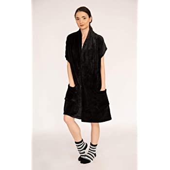 Chic Home Women's Ultra Plush Flannel Fleece Pedra Robe (Black) w/ Striped Socks - $6.40 - FS w/ Prime