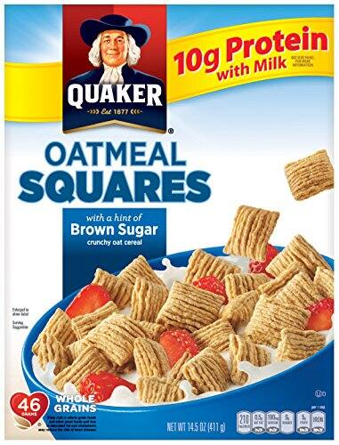 Quaker Oatmeal Squares, Crunchy Oatmeal Cereal with a Hint of Brown Sugar, 14.5 Ounce box $1.89 - FS w/ S&S