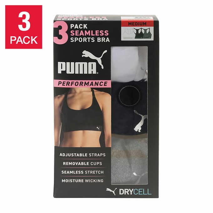 (Costco Members) Puma Ladies' Sports Bra, 3-pack $15.99 + Free Shipping