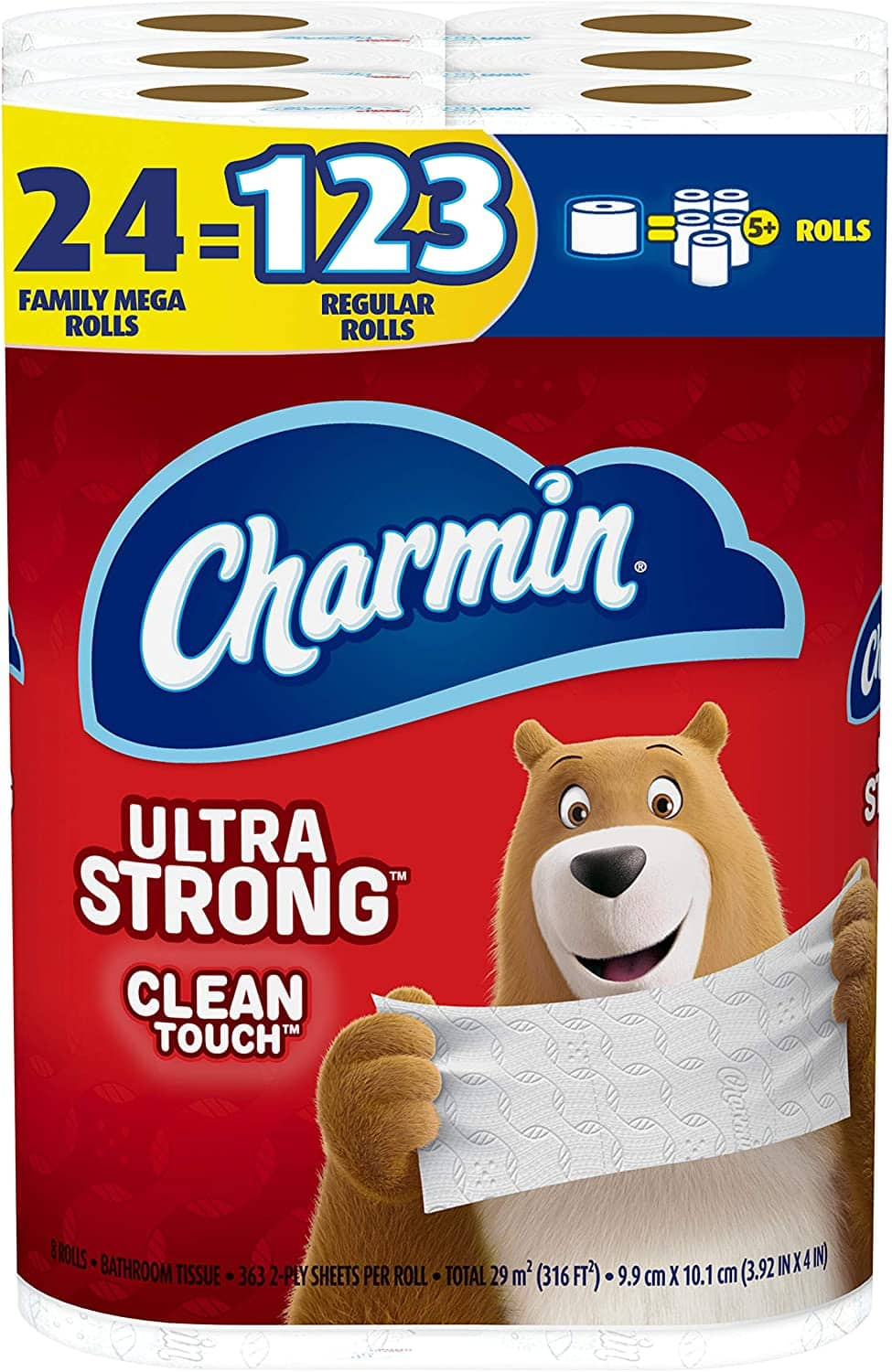 Charmin Ultra Strong Clean Touch Toilet Paper, 24 Family Mega Rolls (8,712 sheets) - $31.49 - FS w/ Prime