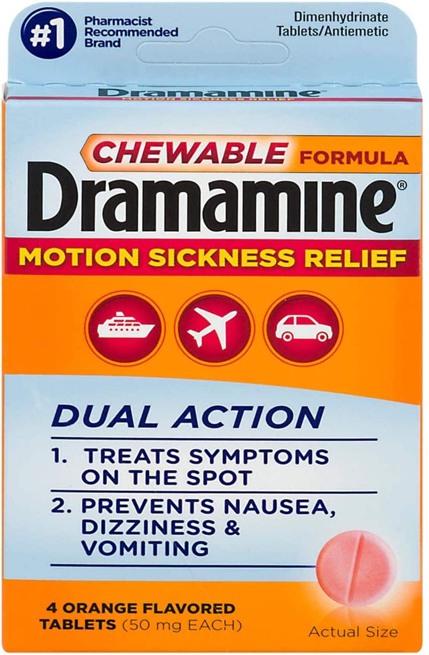 Dramamine Motion Sickness Relief Chewable Formula - 4 Orange Tablets $0.71 or less - FS w/ S&S