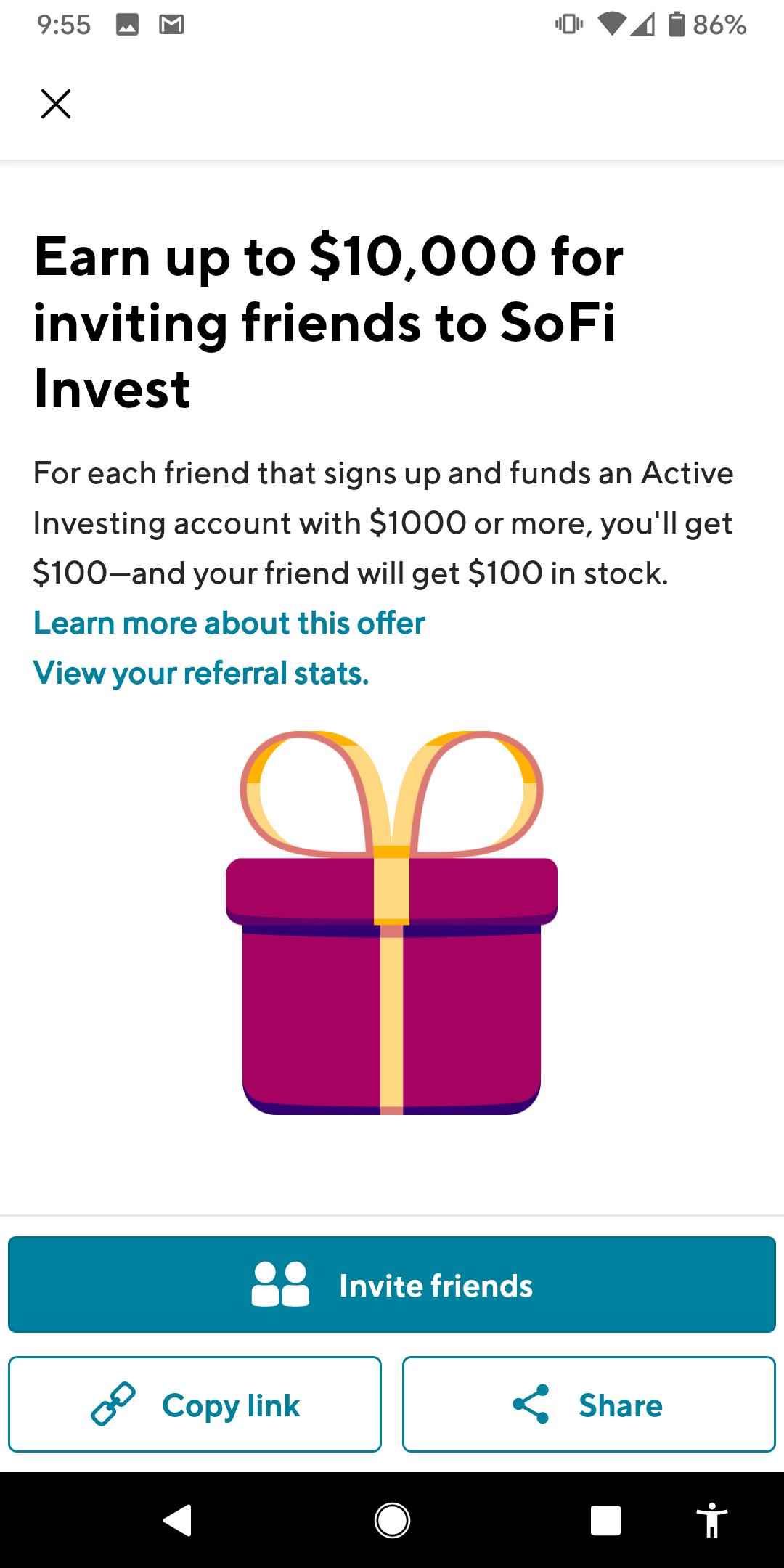 SoFi Invest - $100 bonus after $1000 deposit (additional $25 bonus available for optional crypto trade)