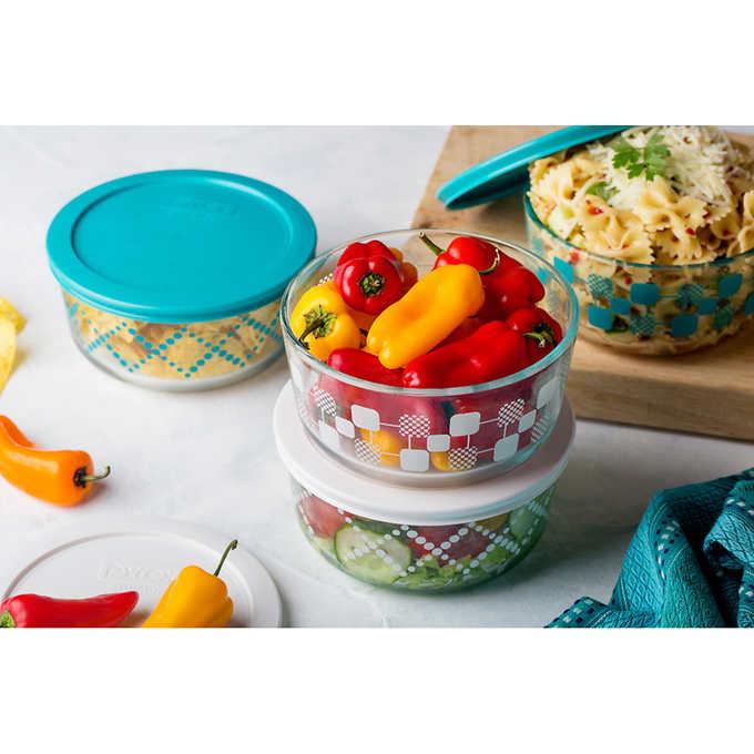 Pyrex 8-piece Decorative Glass Food Storage Set $9.99