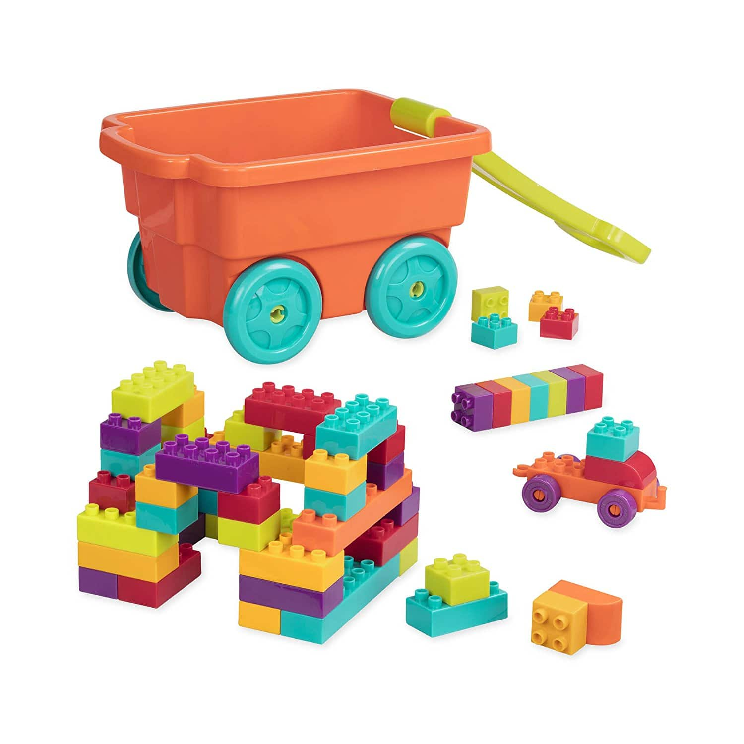 Battat Locbloc Wagon Building Toy Blocks for Toddlers 54 pieces