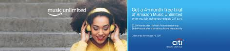 Get a 4 Month Free Trial of Amazon Music Unlimited When you join using your Citi Card