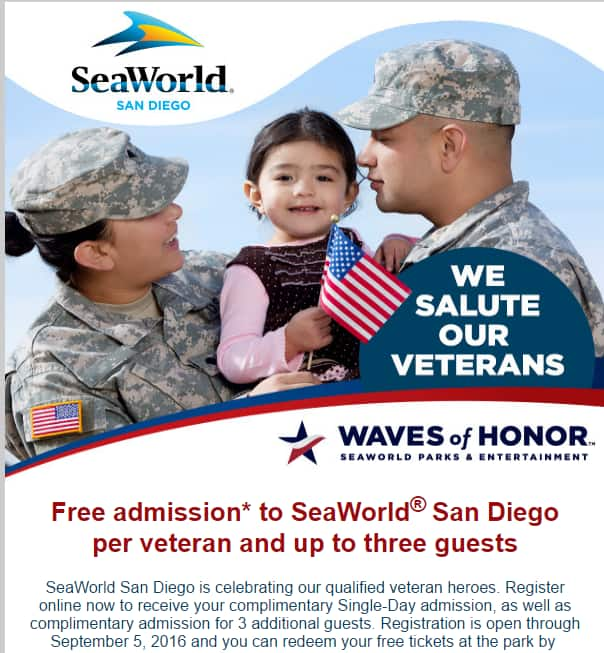 SeaWorld San Diego Free Admission for Veterans +3 Guests