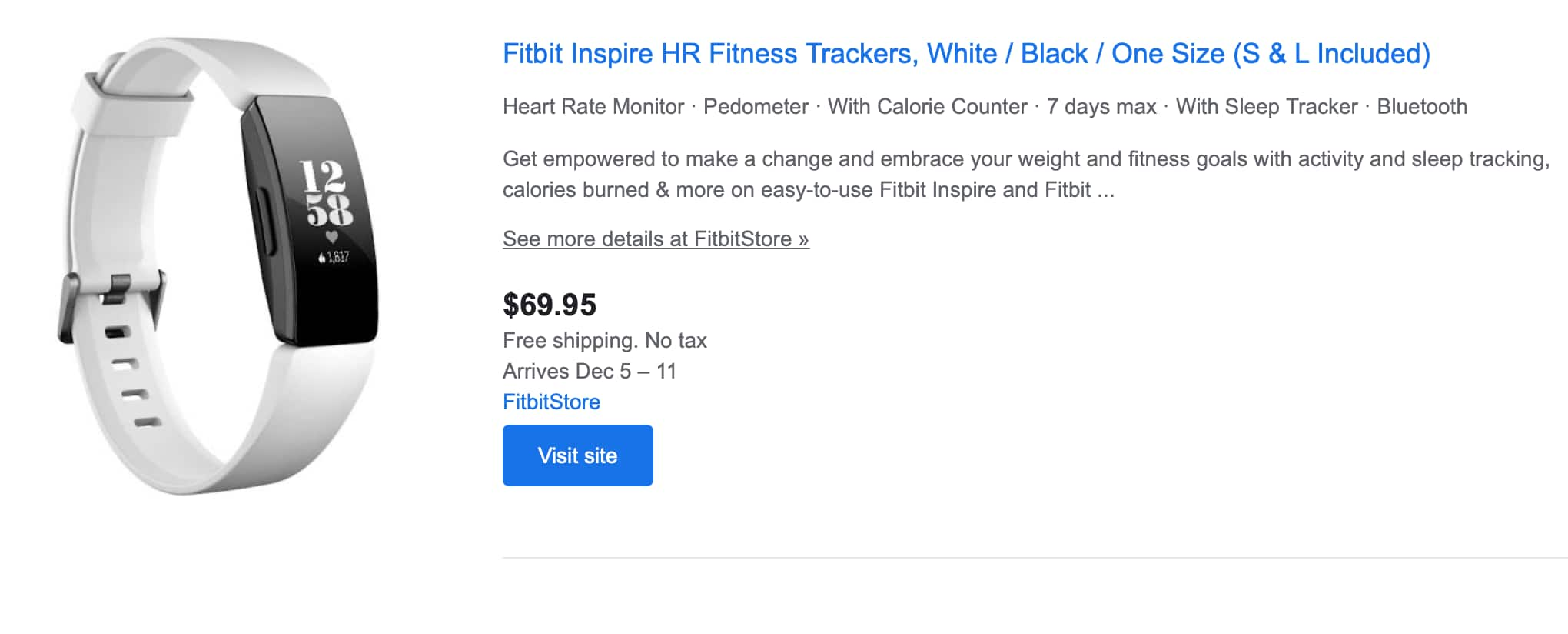 Fitbit inspire HR for 69.99 + free shipping + no tax -- Google shopping [fitbit store] $69.99