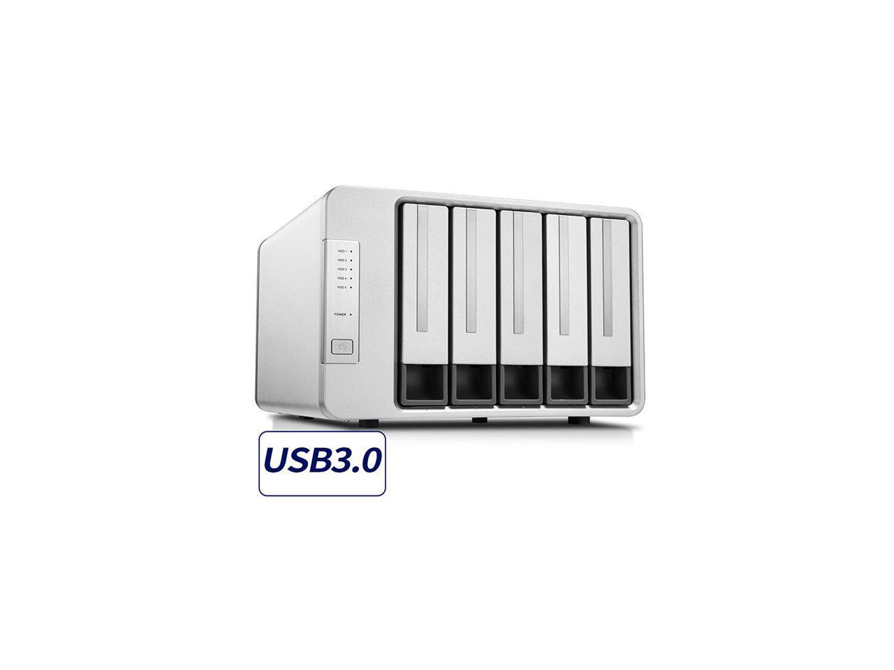 NOONTEC-TerraMaster D5-300 USB3.0 Type C 5-Bay Raid Enclosure USB3.0 (5Gbps) Support RAID 5 Hard Drive RAID Storage (Diskless) $159.99