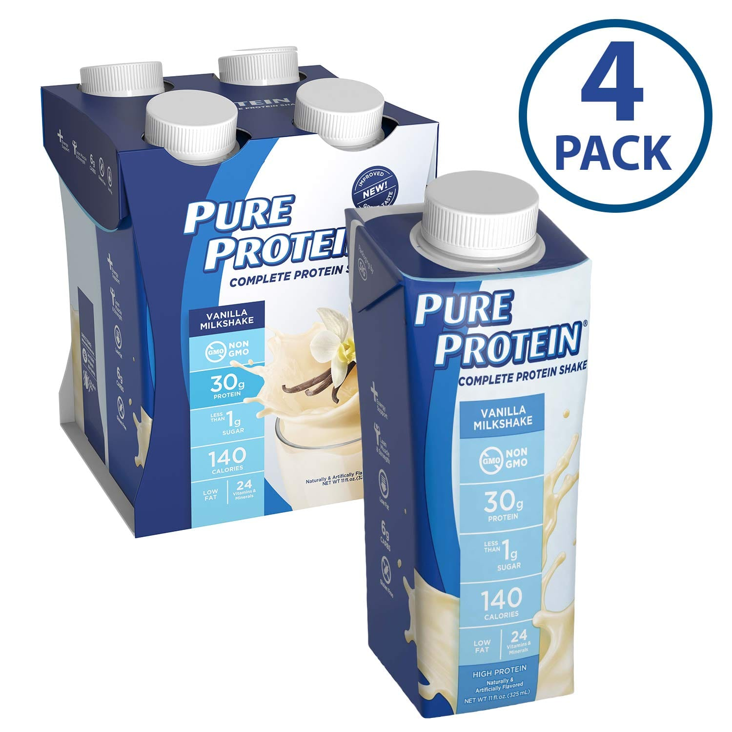 Pure Protein Complete Meal Replacement Shakes, Vanilla Milkshake, 11oz, 4 Count $6.98