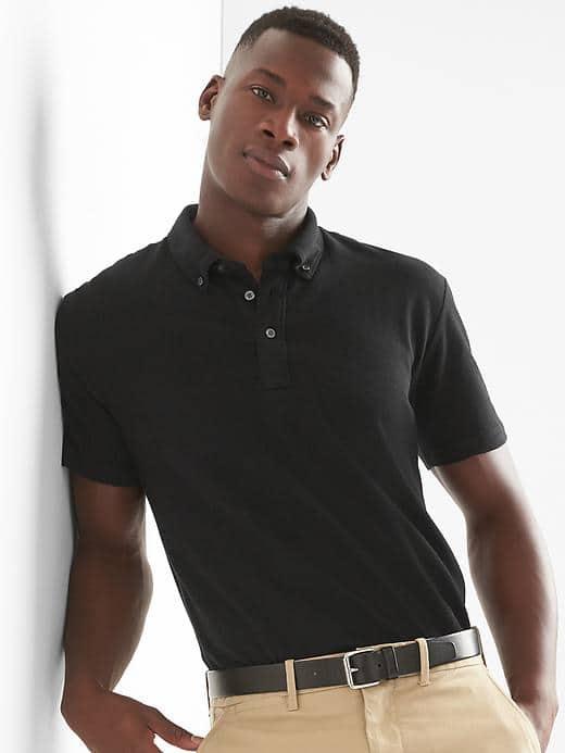 GAP Men's Button Down Collar Pique Slim Fit Polo Shirt ...