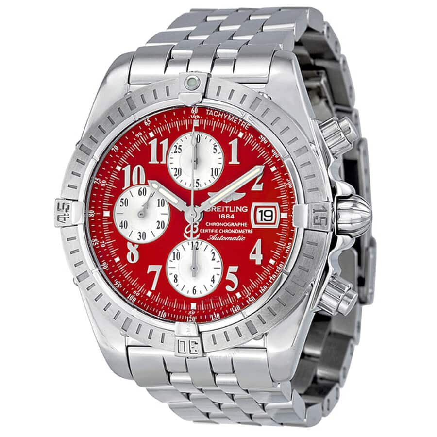 BREITLING  Chronomat 44 Red Automatic Chronograph Watch on Bracelet $3250 + free S/H