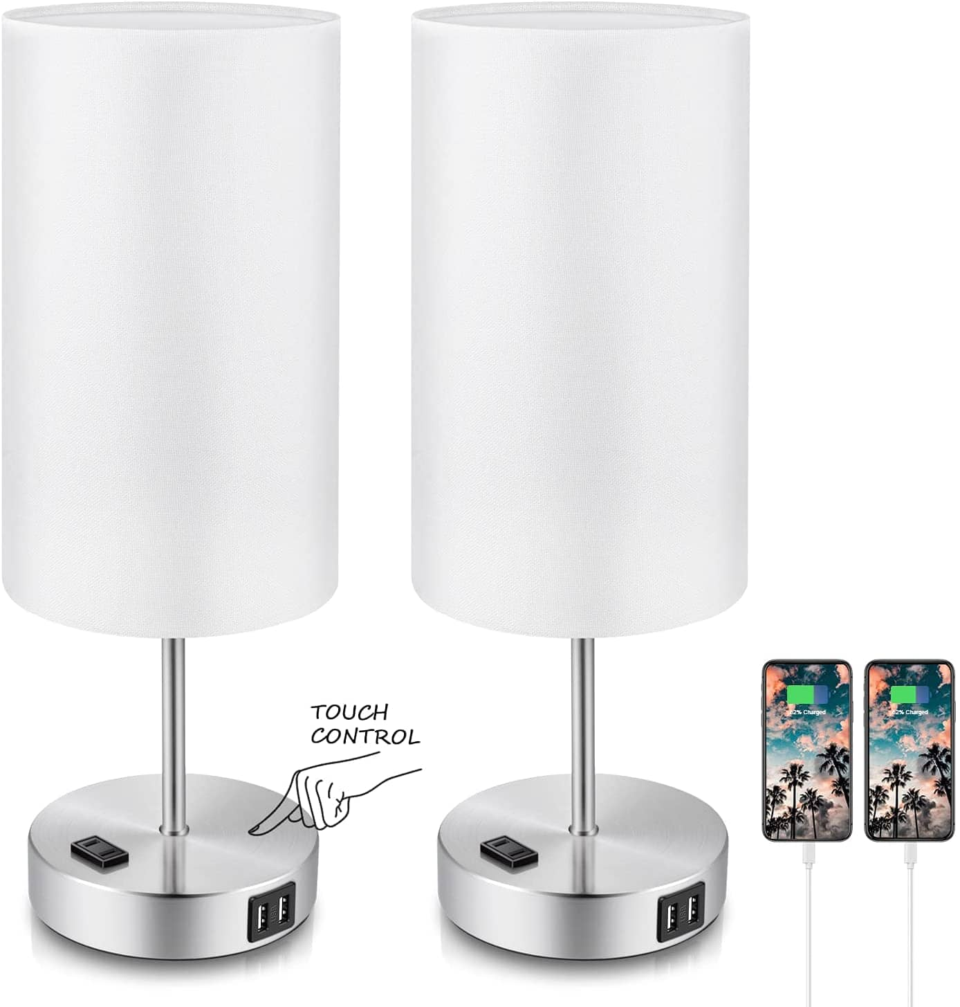 2-Pack TOBUSA 3-Way Dimmable Table Lamps w/ 2 USB Ports and Fabric Shade $33 + free s/h at Amazon