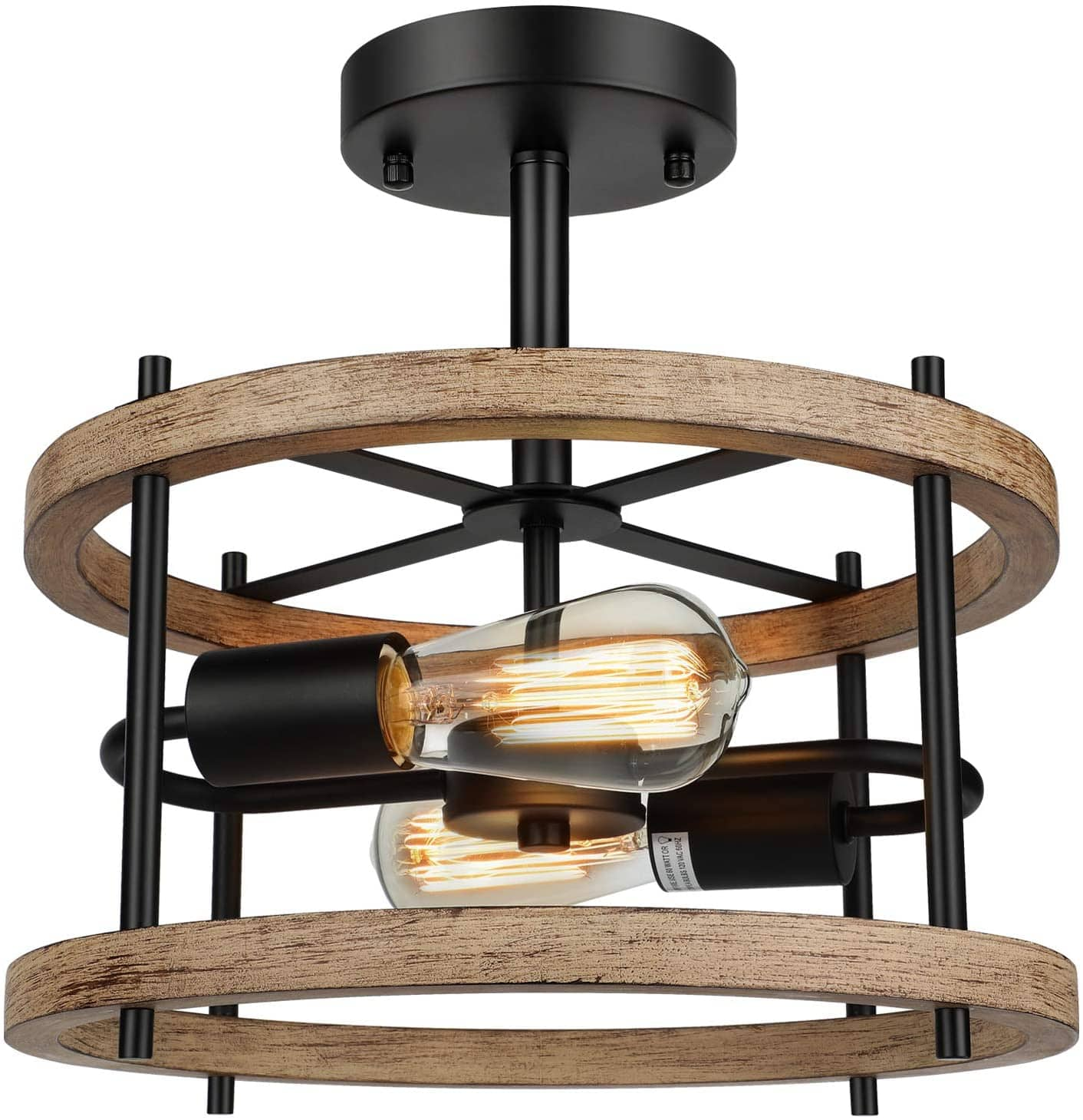 Lakumu 2-Light E26 Retro Semi Flush Wood Mount Ceiling Light $28 + Free Shipping @ Amazon