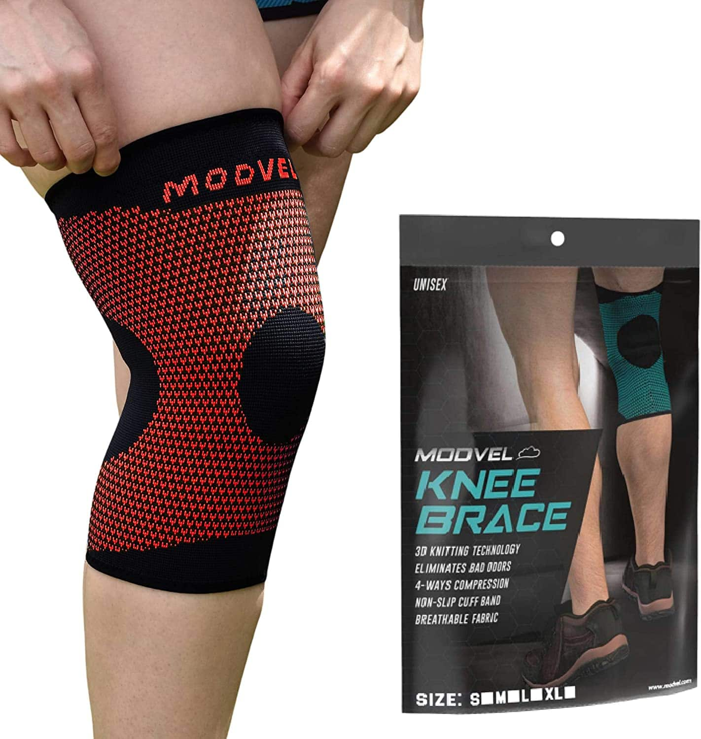 Modvel Compression Knee Sleeve: Single Red $6.40 (or less), Single Turquoise $7.43 & More at Amazon