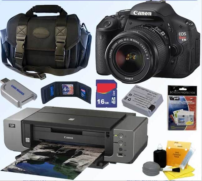 Canon EOS Digital Rebel T3i 18MP SLR Camera w/ 18-55mm Lens + Canon Pro 9000 Printer $410 After $400 Rebate + Free shipping
