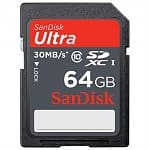 64GB SanDisk Ultra Class 10 (30MB/s) SDXC Flash Memory Card (SDSDU-064G-A11)