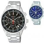 Seiko SSB037 Men's Chronograph Stainless Steel Watch (Black or Blue)