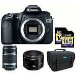 Canon EOS 60D 18MP Digital SLR Camera (Body only) + EF-S 55-250mm Lens + 50mm F1.8 Lens, 2x 16GB Lexar Class 6 Memory Cards