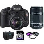 Canon EOS Digital Rebel T3i 18MP SLR Camera w/ 18-55mm Lens + 55-250mm IS lens + Lexar 32GB Class 10 Card + Canon Pro 9000 Printer