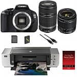 "Canon EOS Digital Rebel T3i 18MP SLR Camera w/ 18-55mm Lens + 55-250mm IS Lens + Canon Pro 9000 Printer +  50-pack 13x19"" Photo Paper"