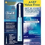 Oral-B Professional Care 1000 Electric Rechargeable Power Toothbrush + 10-Count Crest 3D Whitestrips