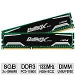 8GB (2x4GB) Crucial Ballistix DDR3 1333MHz 1.5v Desktop Memory