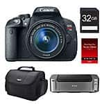Canon T5i DSLR Camera + 18-55mm STM Lens + Pro-100 Printer  $399 After $350 Rebate + Free S&H
