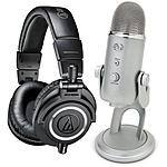 Audio-Technica ATH-M50x Headphones Yei Blue USB Microphone $200 + free shipping