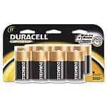 Duracell Batteries: 8-pack Coppertop D Cell $7.50, 4-pack Pre-Charged Rechargeable NiMH AAA