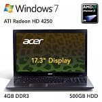 "Acer Aspire AS7551-7422 Refurbished Laptop: AMD Phenom II x4 Quad-Core N970 CPU, 4GB DDR3, 500GB HDD, 17.3"" LCD (1600x900), Radeon HD 4250, DVDRW, WiFi N, 6 Cell, Win 7 Home"