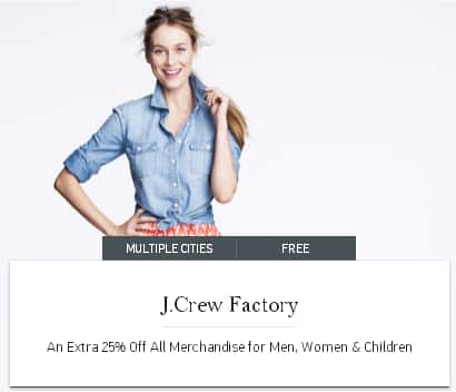 Gilt City: 25% off J. Crew Factory, STACKING Coupon