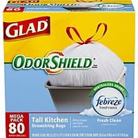 Amazon Deal: 80-ct of 13 Gallon Glad OdorShield Drawstring Trash Bags