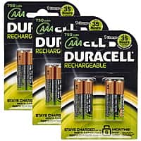 12-Pack Duracell AAA Rechargeble 750mAh NiMH Batteries $15 + Free Shipping