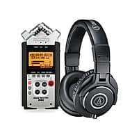 Zoom H4nSP Handy Mobile 4-Track Recorder + Audio-Technica ATH-M40x Headphones $  230  + Free Shipping
