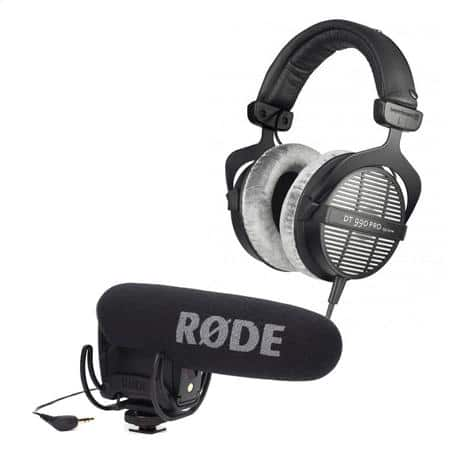 Beyerdynamic DT 990 250Ohm Pro Headphones + Rode Pro R Cardioid Condenser DSLR / Camcorder Microphone w/ Rycote Lyre Shock Mount $289 + free shipping