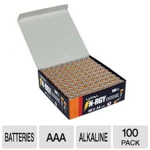 100-Pack Ultra N-RGY AAA Batteries $10 + Free Shipping!