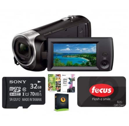 Sony HDR-CX405 1080p Handycam Camcorder Bundle w/ $25 Focus Camera GC, 32GB Sony Card & More $128 with free shipping