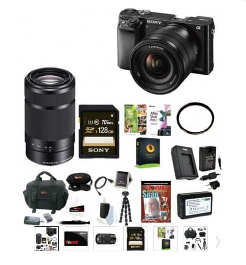 Sony a6000 + 16-50mm Lens + 55-210mm Lens + $50 GC + 128GB Memory + bag, battery & More $698 + free shipping