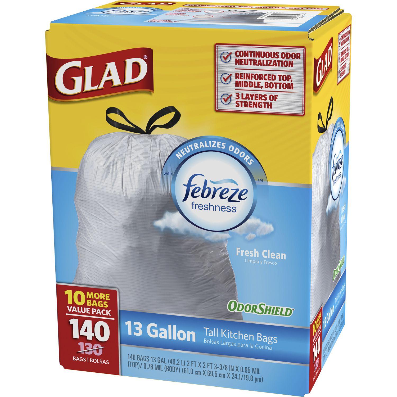 140-ct Glad OdorShield Tall Kitchen Drawstring Trash Bags (Fresh Clean) $10 + s/h (sam's club)