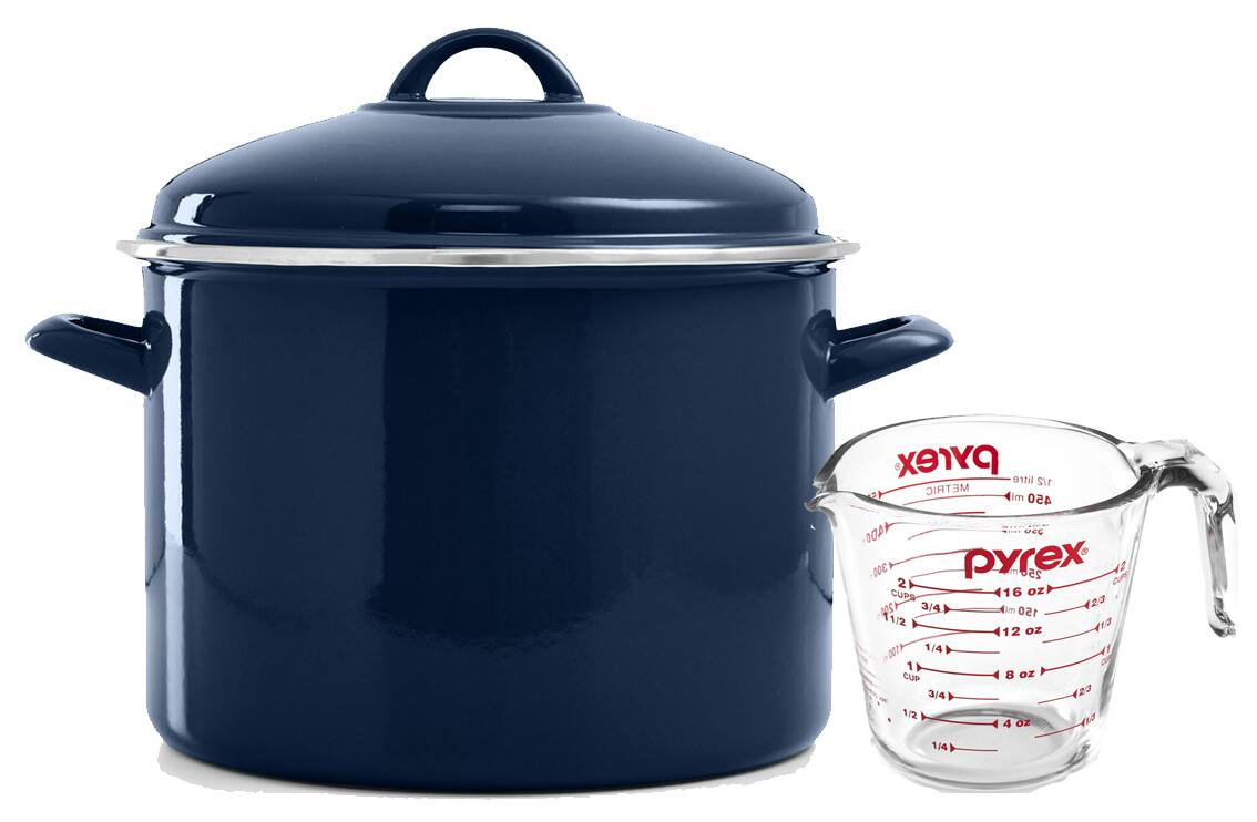 10-Qt Martha Stewart Collection Enamel on Steel Stockpot w/ Pyrex 2-Cup Measuring Cup $23 shipped (or $19 w/ store pickup at Macys)