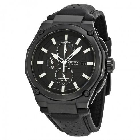 CITIZEN Sport Eco-drive Chronograph Black Dial Black IP Steel Men's Watch - $159.99 shipped (65% off)