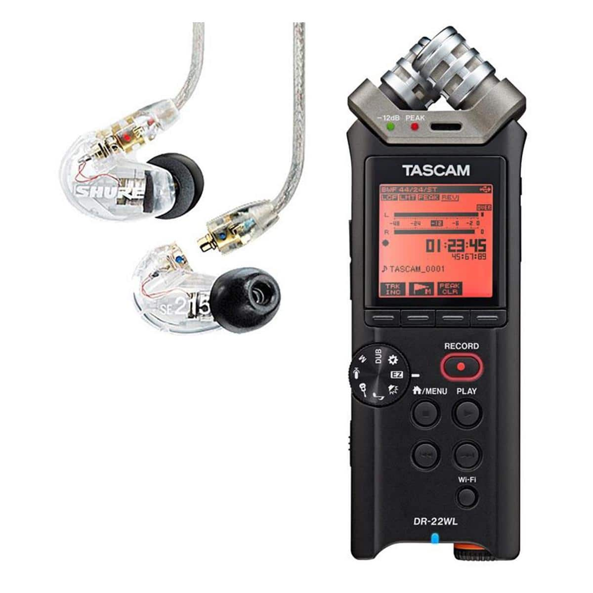 Shure SE215 Earphones + Tascam DR-22WL 2-Ch Audio Recorder $140 + Free Shipping