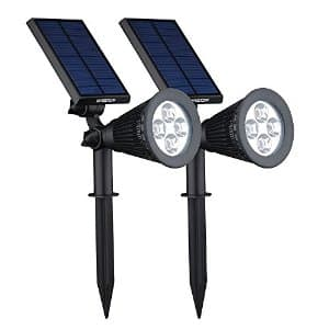 VicTsing Upgraded  2-in-1 Wall / In-ground Solar Powered LED Spotlight:  $11 for one $20 for 2 @ Amazon