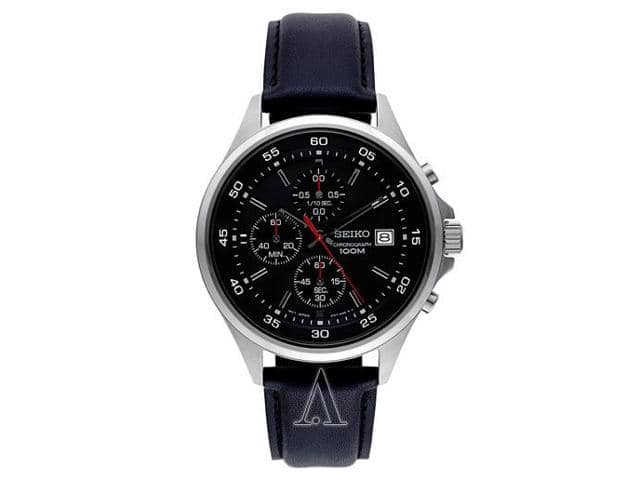 Seiko SKS495 Chronograph Watch w/ Leather Strap  $71 + Free S&H