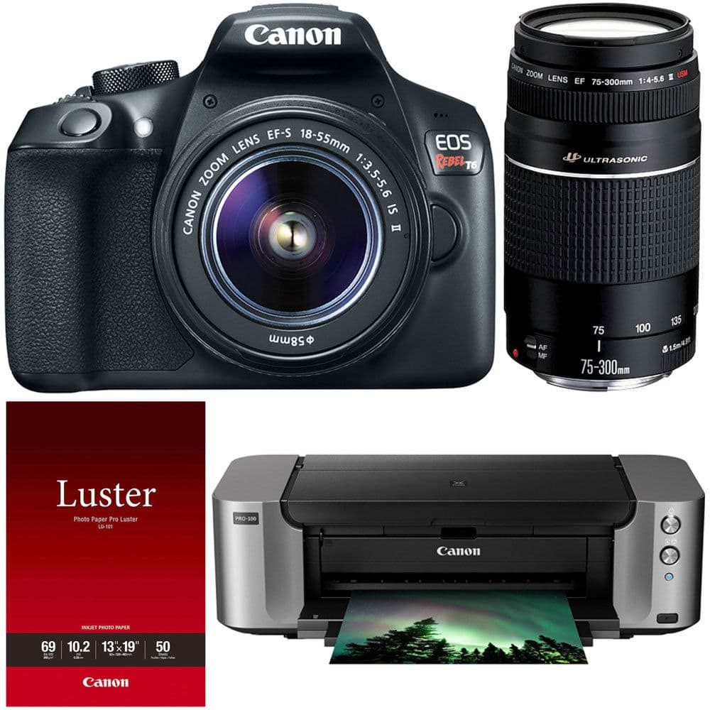 Canon T6 DSLR w/ 18-55mm & 75-300mm Lenses + Pro-100 Printer $350 after $350 rebate + free s/h
