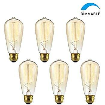 4-Pack Shine Hai ST64 Squirrel Cage Vintage Incan Edison Bulb (2300k,e26 300lm) $9