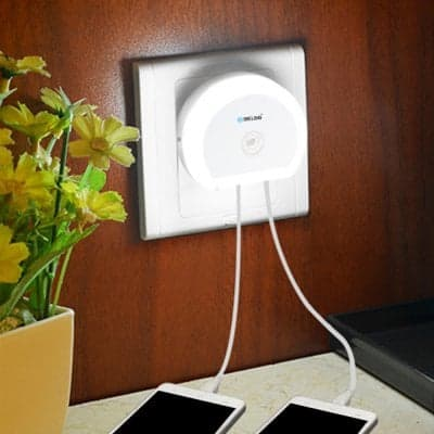 Brelong Light Switch +Led Night Light with Dual Usb  Charger $3 + free shipping