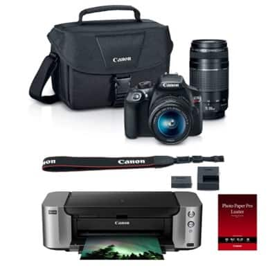Canon T6 DSLR Camera w/ 18-55mm & 75-300mm Lenses + Pro-100 Printer + Paper + Case $379 after MIR + free shipping