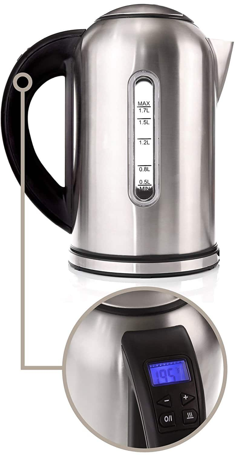 40oz Willow & Everett Teapot Kettle with Warmer & Strainer $13, 1.8qt Electric Kettle w/ 4 Button Touch Display & Temp Control $20